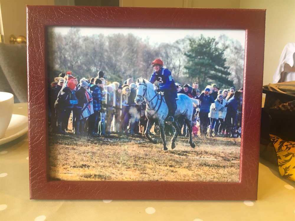 Hicky Gibb, winning the New Forest Point to Point in 2017 on Mallards Wood Robin